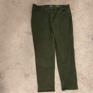 Style & Co Denim straight leg olive green